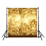 DODOING 10x10ft Gold Bokeh Glitter Photo Backdrop, Wedding Photo Booth Props, Christmas Photography Background, Birthday Party Ceremony Background, Studio Props Backdrop