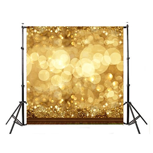 DODOING 10x10ft Gold Bokeh Glitter Photo Backdrop, Wedding Photo Booth Props, Christmas Photography Background, Birthday Party Ceremony Background, Studio Props Backdrop -