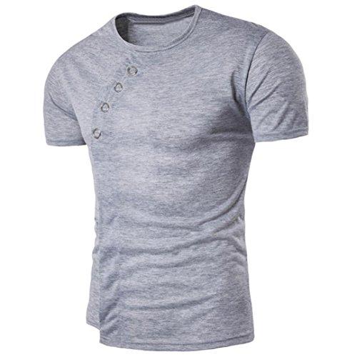 para manga corta Camiseta OverDose verano Gris sólido camiseta asimétrica hombre Hfd7wq