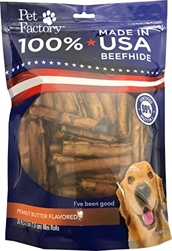 Pet Factory 78144 Beefhide | Dog Chews, 99% Digestive, Rawhides to Keep Dogs Busy While Enjoying, 100% Natural, Peanut Butter Flavored Mini Rolls, Pack of 35 in 3-3.5