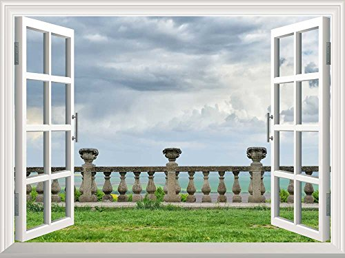 Removable Wall Sticker Wall Mural Ancient Architecture of Ancient Railings Old Castle Railings Creative Window View Wall Decor