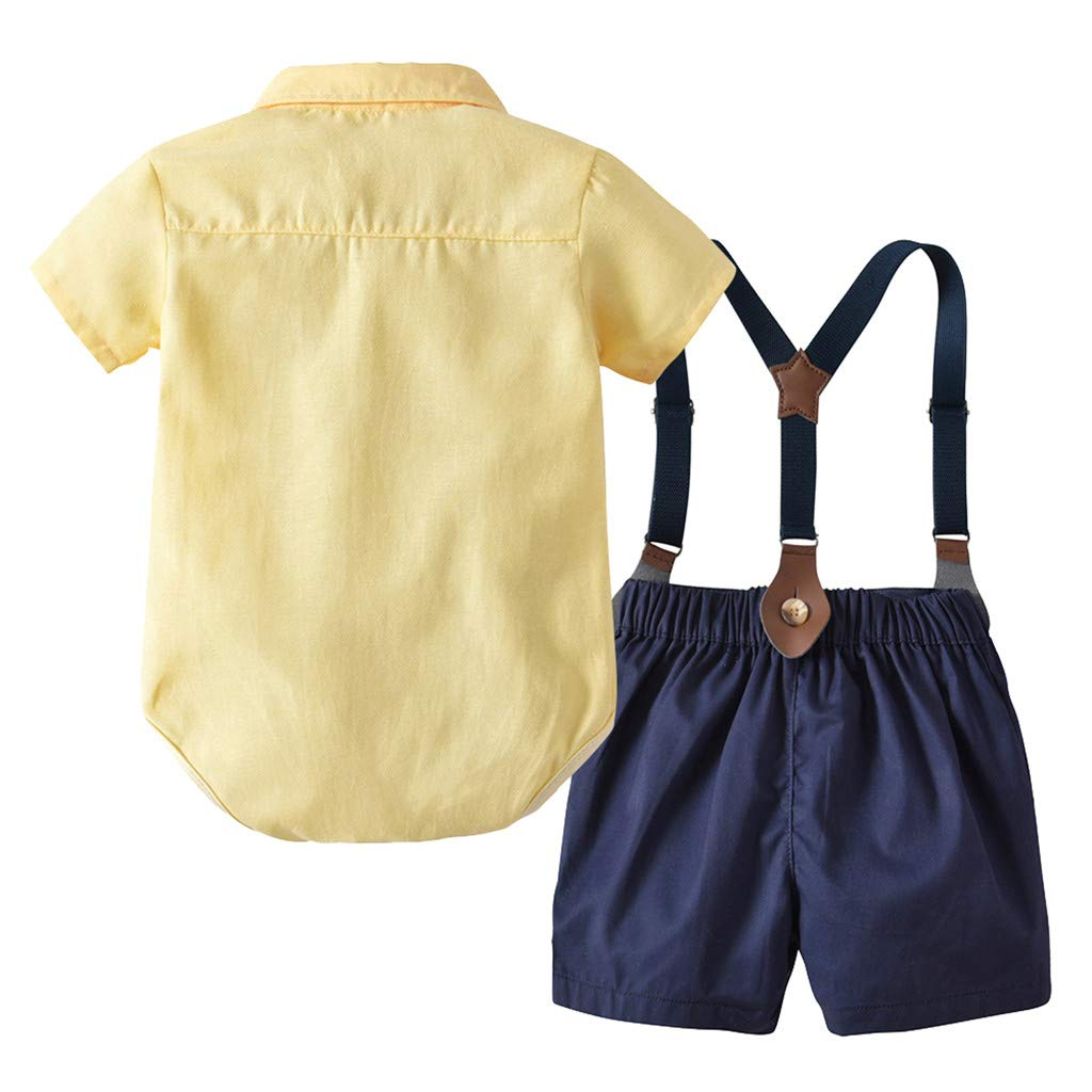 JUTOO 2 St/ücke Set Infant Baby Jungen Gentleman Fliege T-Shirt Tops Shorts Overall Kleidung Outfits