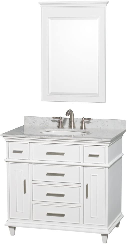 ARIEL Hamlet F049S-WQ-WHT 49 Inch Solid Wood Single Sink Bathroom Vanity Set with White Quartz Countertop