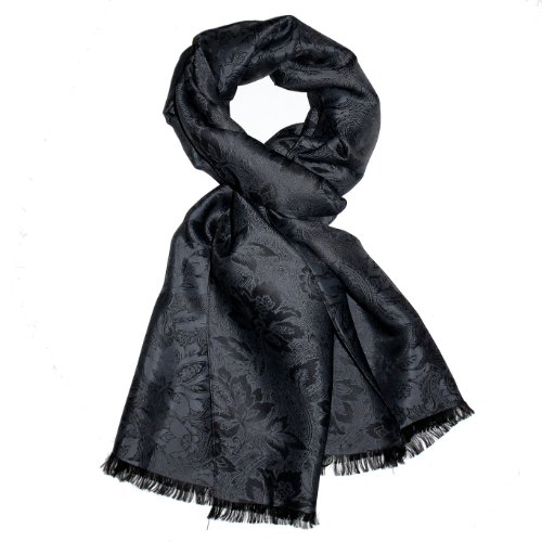 LORENZO CANA Elegant Mens Luxury Silk Scarf Shawl Damask 22x75
