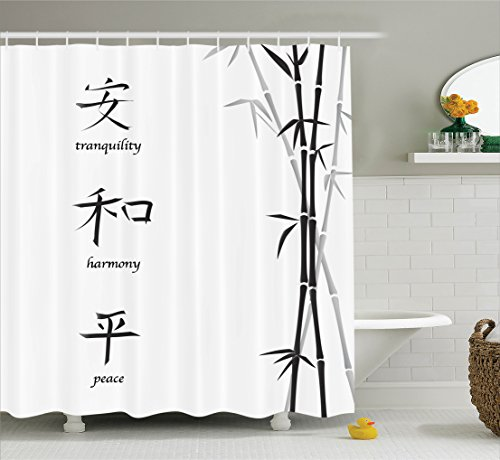 Ambesonne Bamboo House Decor Shower Curtain Set, Illustration of Chinese Symbols for Tranquility Harmony Peace with Bamboo Pattern, Bathroom Accessories, 69W X 70L inches, Charcoal Grey White