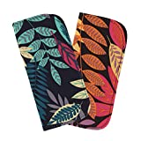2 Pack Soft Eyeglass Slip Case For Women - Botanical Print On Navy & Dark Purple