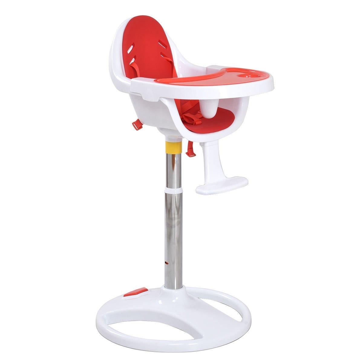 Costzon Baby High Chair Pedestal Adjustable Highchair Safety Seat (Red)