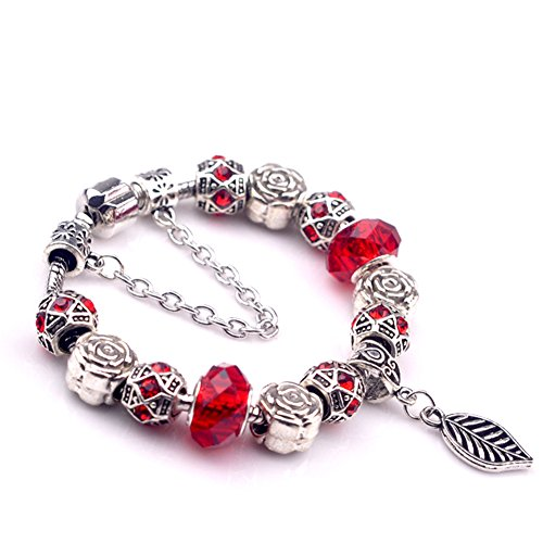 [BENNINGCO Red Handmade Crytal with Leaf Pendant Charm Chain Bracelet(Size,17CM)] (Diy Pageant Girl Costume)