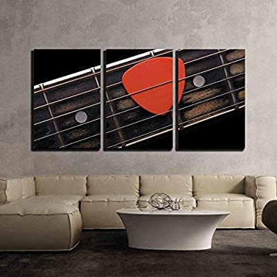 """3 Piece Canvas Wall Art - Orange Guitar Pick on The Fingerboard - Modern Home Art Stretched and Framed Ready to Hang - 16""""x24""""x3 Panels"""