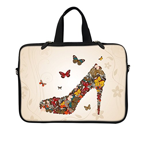 - Meffort Inc Neoprene Laptop / Ultrabook / Chromebook Carrying Sleeve Bag W. Hidden Handle & Eyelet (D-ring) for 10.5 to 11.6 Inch Notebook (Butterfly High Heel)