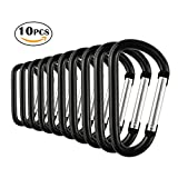 Temlum Aluminum Carabiner 2.2 Inches Clip D Shape Carabiners Set Spring Snap Hook for Camping Traveling Hiking Keychains Keyring Outdoor Black (10 Pcs)