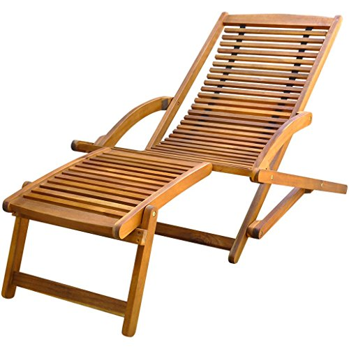 Festnight Folding Outdoor Patio Chaise Lounge Deck Chair With Footrest Pull  Out Ottoman Wood