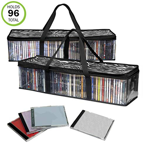 Acrylic Cd Holder - Evelots New&Improved CD Sturdy Storage Bags Carrying Handles- S/2-Total 96 CD's