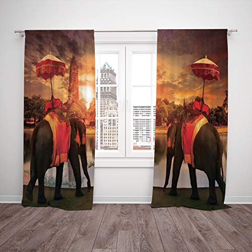 (Thermal Insulated Blackout Window Curtain,Asian,Animals Dressing Traditional Costumes Standing in front of Pagoda Patience Symbol Print Decorative,Multi,Living Room Bedroom Kitchen Cafe Window)