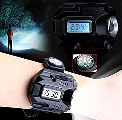 Waterproof LED Tactical Display Rechargeable Wrist Watch Flashlight Multi Tools Outdoor Lighting for Outdoor Camping Hunting with Mini-Compass