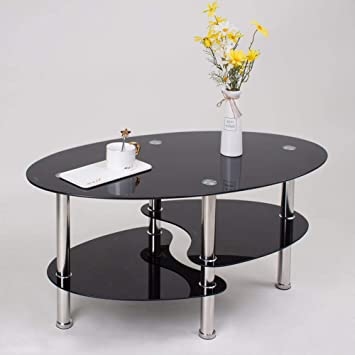 Joolihome Noir Rectangulaire Table Basse En Verre Etagere Chrome