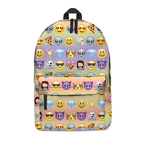 fringoo Unisex Jungen Mädchen Rucksack Schule Rucksack komplett bedruckte Kabine Gepäck reisen Gym Mehrfarbig Cute Patch Holo H42 x L31 x W21 cm Emoji Rainbow