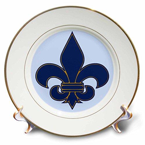 3dRose cp_22361_1 Large Navy Blue and Gold Fleur de lis Christian Saints Symbol Porcelain Plate, 8-Inch