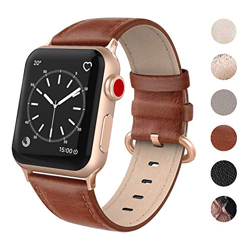 (SWEES Leather Bands Compatible for Apple Watch iWatch 38mm 40mm, Genuine Leather Strap Rose Gold Clasp Compatible iWatch Series 4 Series 3 Series 2 Series 1, Sports & Edition Women, Cognac Brown)