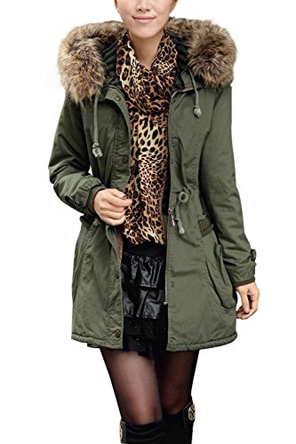 5062d27a24 4HOW Women's Faux Fur Lined Coats Winter Parkas Hooded Outerwear Army Green  US Size 6