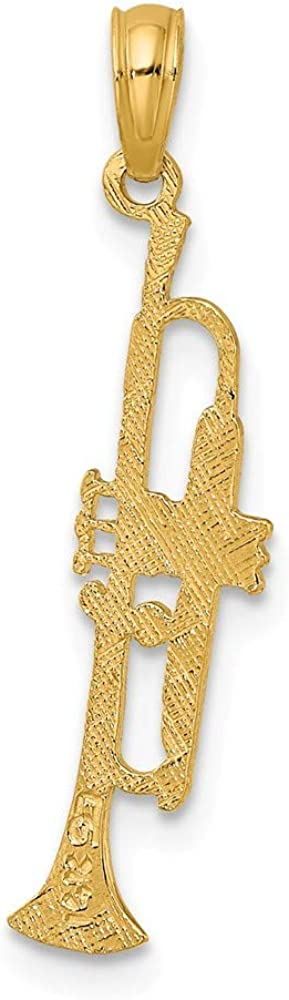 Yasmins Collection 14K Yellow Gold Trumpet High Polish Pendant 0.89 x 0.25 inches
