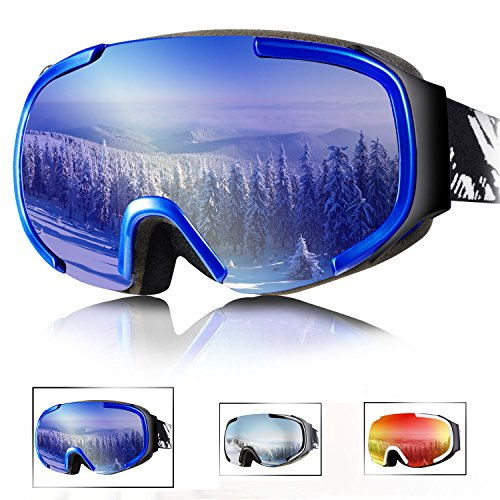 Tryiins OTG Ski Goggles Over Glasses Women's Mens Youth Anti Fog Ski Snowboard Snow Goggles with Big Wide Sherical Lens Panoramic View with half frame protection 100% UV Protection Smooth Air-flow (Arc Ski)