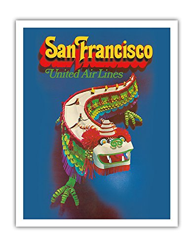 Pacifica Island Art San Francisco California - United Air Lines - Chinese Dragon Dance - Vintage Airline Travel Poster c.1971 - Fine Art Print - 11in x 14in (United Airlines Dragon)
