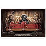 Custom Personalized Lab Puppy in Little Red Wagon Print with Barnwood Background, Poster Labrador Retriever Gift Black, Chocolate & Yellow