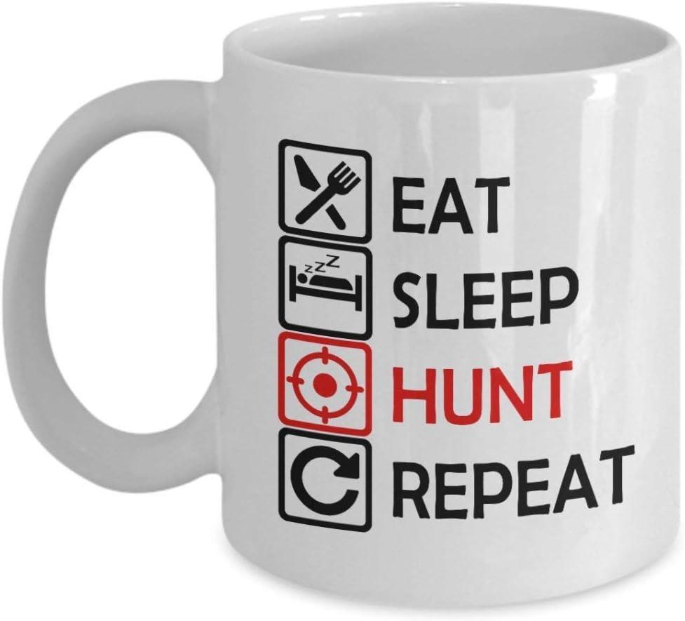 Taza de café de 11 oz para cazar papá, los hombres comen dormir y caza repetir los niños de caza, papá de hijo, él, esposo, niños, hombres menores de 20, novio día del padre