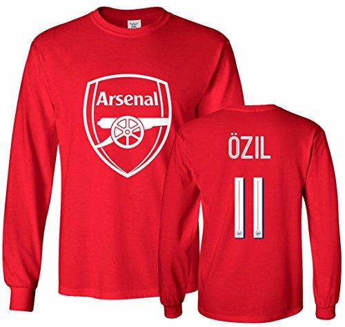 Tcamp Arsenal Shirt Mesut Ozil #11 Jersey Youth Long Sleeve T-shirt,Red,Youth Large