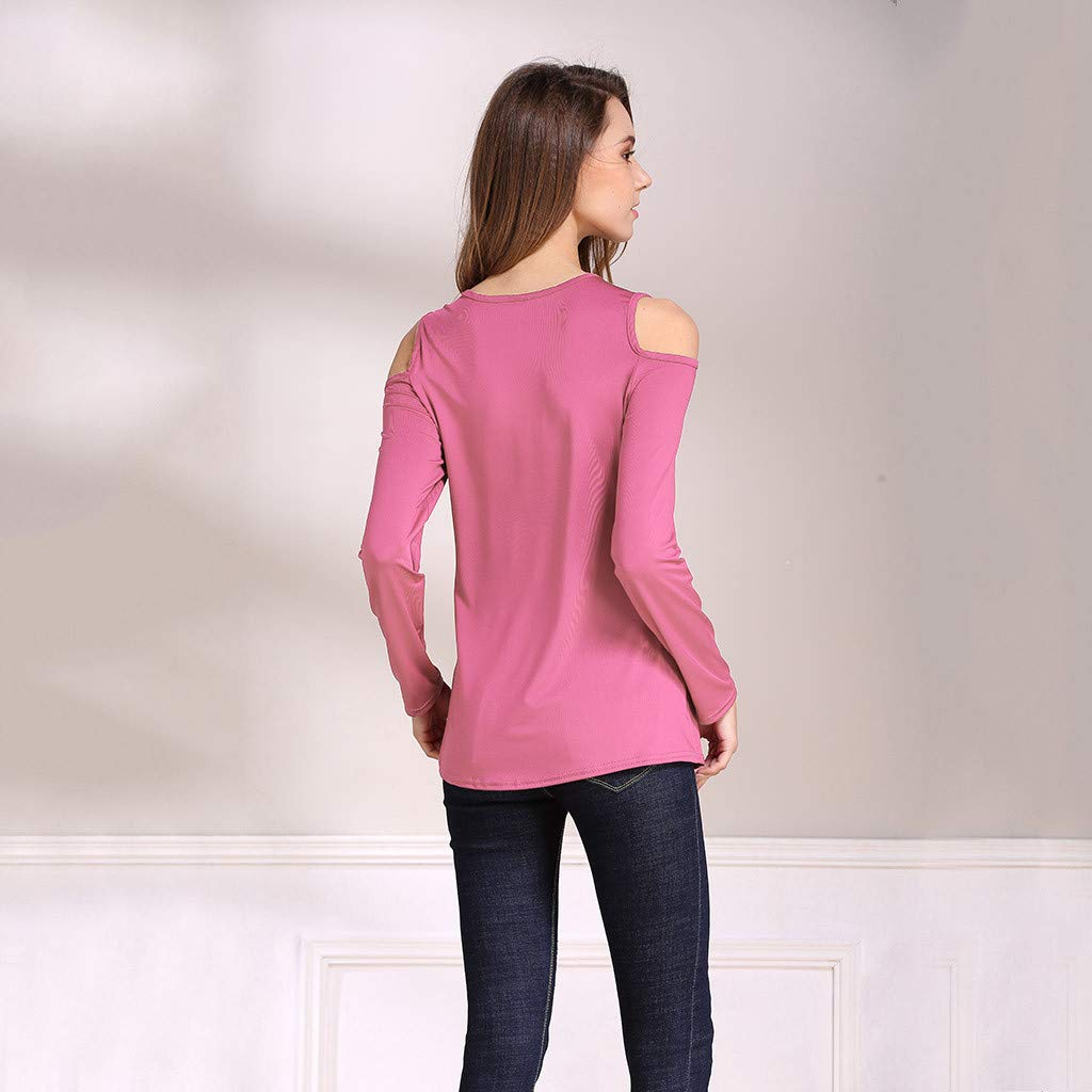 Off/Shoulder/Tops/for/Women Fashion Loose Long Sleeve Solid Casual T-Shirt Blouse Tops