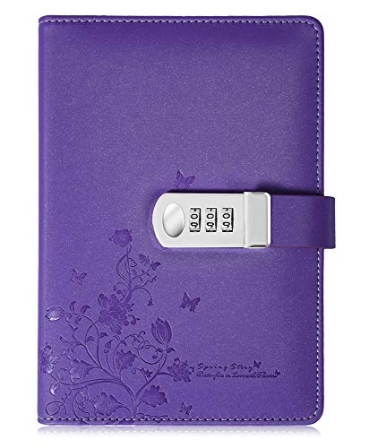 PU Leather Diary with Lock, A5 Size Journal with