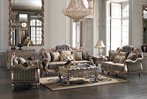 Inland Empire Furniture's Jasmine Solid wood and Plush Sofa, love seat, chair, coffee table, 2 x end tables and console table