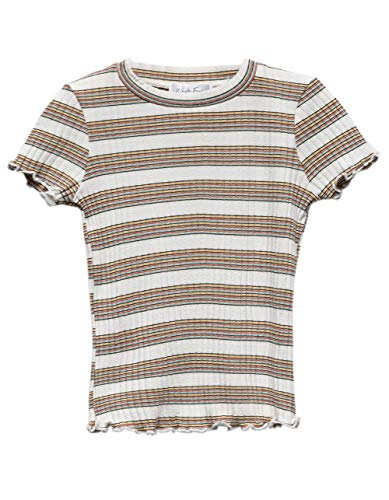 WHITE FAWN Stripe Lettuce Edge Girls Tee, Multi, Medium