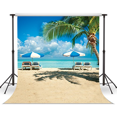 LYWYGG Summer Backdrops Wedding Party Background Tropical Beach Backdrop Banner (10 Ft X 10 Ft) Vinyl Beach Scene Setter, Wall Decoration Non Reflective, Wrinkle Free with Iron, Reusable CP-6]()