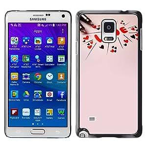 Paccase / SLIM PC / Aliminium Casa Carcasa Funda Case Cover para - Love Text Pink Peach Red Hearts Valentines - Samsung Galaxy Note 4 SM-N910F SM-N910K SM-N910C SM-N910W8 SM-N910U SM-N910