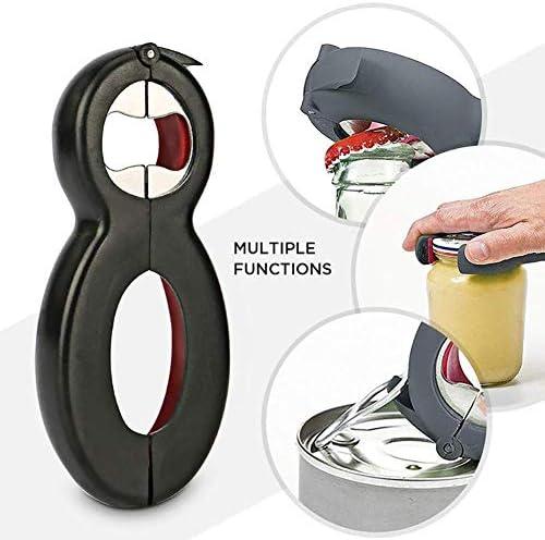 6-in-1 Multi-Öffner, Flasche, Professional und Glas-Öffner, Deckel Twist Off, Soda Drehverschlussöffner für schwache Hände arbeitssparende Flaschenöffner Küche Gadgets (schwarz-rot)