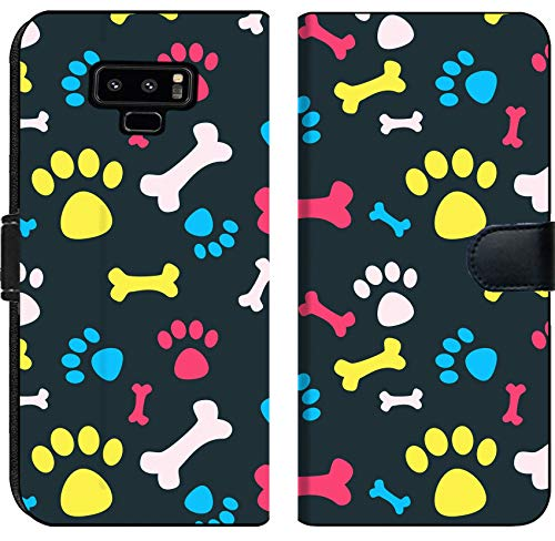 Prints Paw Wallet (Liili Premium Samsung Galaxy Note9 Flip Micro Fabric Wallet Case Image ID: 23228949 Cool pet Background with Dog paw Prints and Bones Vector Seamless Texture)