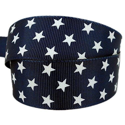 White Stars 1 Inch Navy Blue Grosgrain Ribbon 50 Yards