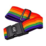 Potato001 Suitcase Luggage Straps - Adjustable Rainbow Luggage Packing Belt with Password Lock Clip