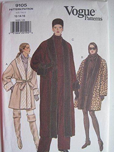 (Vogue Pattern 9105 Misses'/Misses' Petite Reversible Coat Sizes 12-14-16)