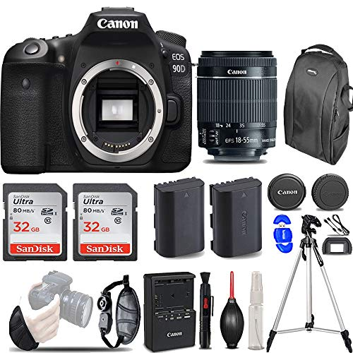 Canon EOS 90D DSLR Camera with 18-55mm Lens with 64GB Starter Bundle