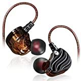quad beat earphone - In-ear Earbuds, Leagway Quad-core Dual Dynamic Driver Earphones With Mic and Volume Control, Heavy Bass Subwoofer HiFi Headset Stereo Sports Headphones for iOS and Android Computer PC Tablet (Black)