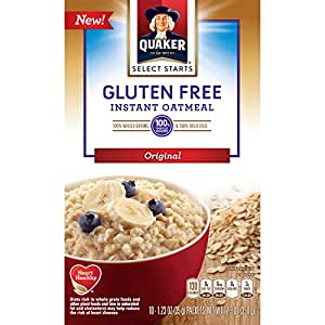Quaker Instant Oatmeal, Gluten Free Original, Breakfast Cereal, 1.23oz -10 count, (Pack of 6 )