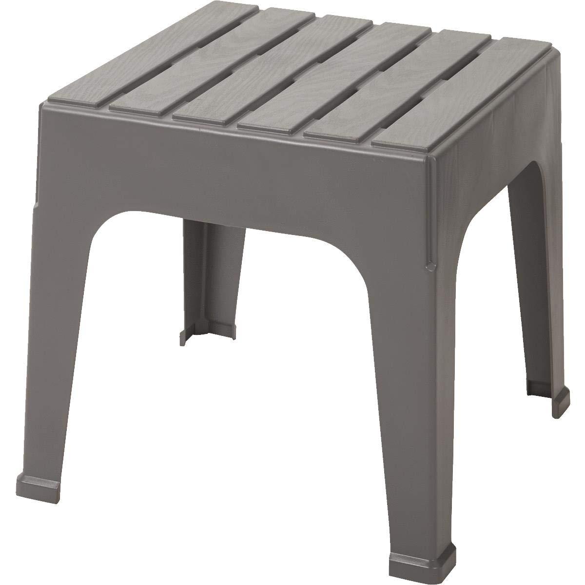 Adams Big Easy Square Gray Polypropylene Stackable Side Table