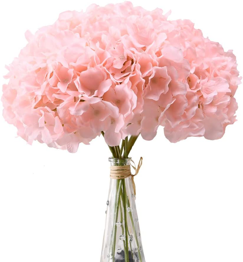 Aviviho Hydrangea Silk Flowers Heads Blush Pack of 10 Full Hydrangea Flowers Artificial with Stems for Wedding Home Party Shop Baby Shower Decor