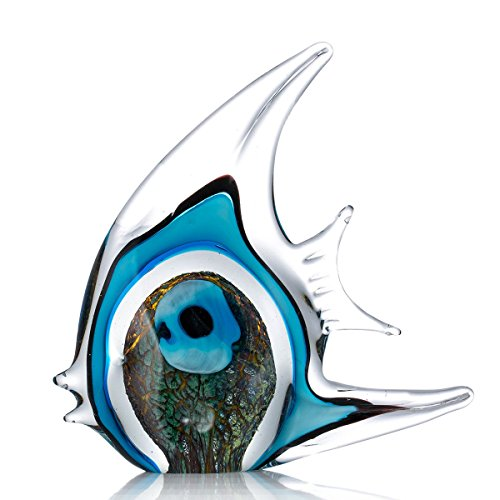 Tooarts Blue Stripe Tropical Fish Glass Sculpture Home Tabletop Decoration -