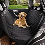 "Acrabros Universal Fit Nonslip Waterproof Padded Quilted Convertible Hammock Dog Car Seat Covers with Extra Side Flaps, Black, 54""W x 58""L"