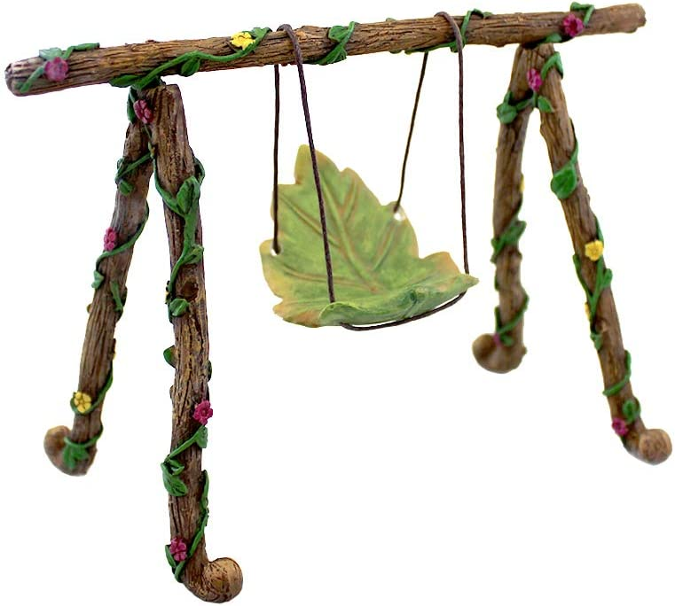 NW Wholesaler Fairy Garden Accessories - Miniature Fairy Garden Figurines, Tools, Supplies, Animals, and Mini Furniture for Fairy Gardens (Leaf Swing)