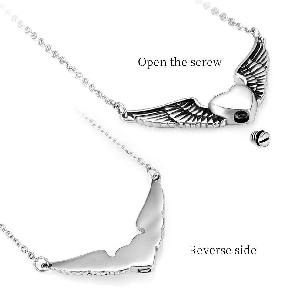 memorial jewelry Foreverlove Angel Wings Pendant Memorial Ashes Urn Pendant Cremation Ashes Urn Jewelry by memorial jewelry (Image #3)